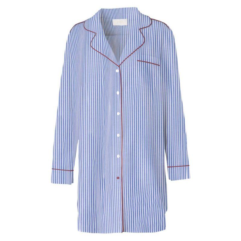 The Boyfriend Shirt - Blue Stripe / Red-Blue Stripe / Red-M/L