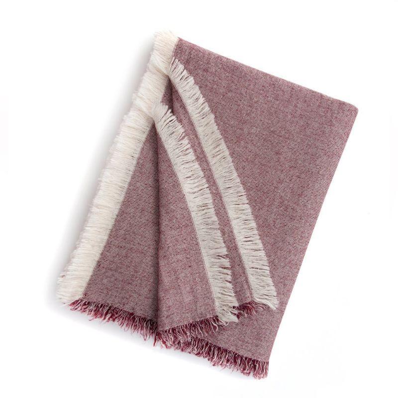 Brentwood Cotton-Wool Throw-Burgundy