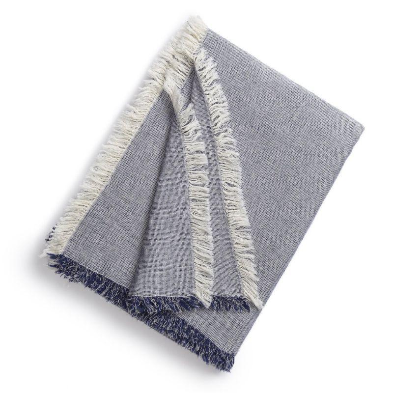 Brentwood Cotton-Wool Throw-Indigo Blue