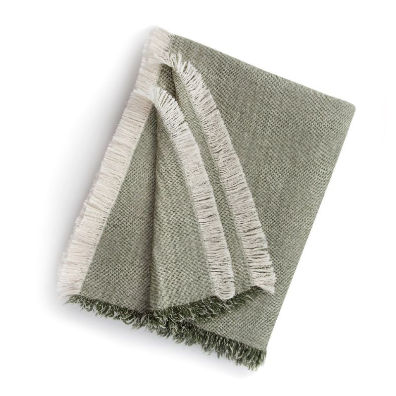 Brentwood Cotton-Wool Throw-Olive