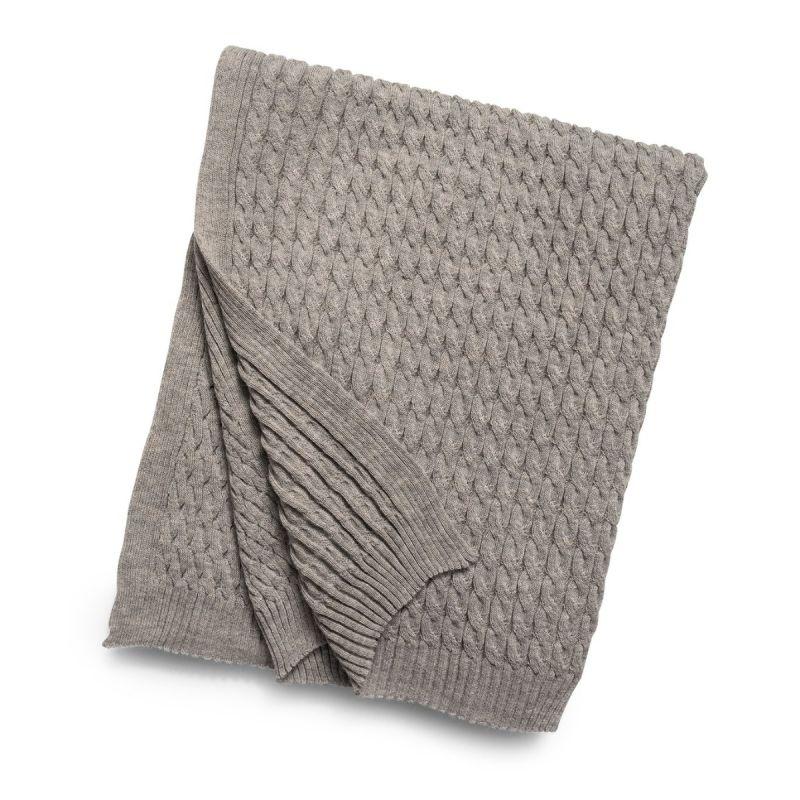 Cable Knit Baby Alpaca Throw-Light Grey