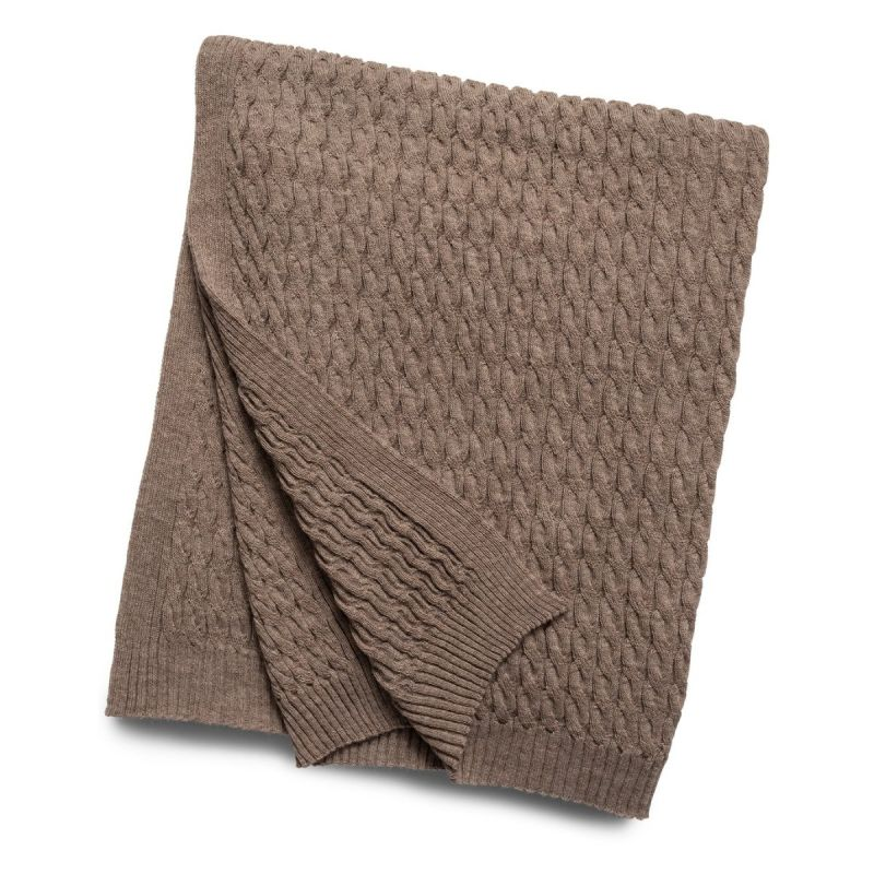 Cable Knit Baby Alpaca Throw-Taupe