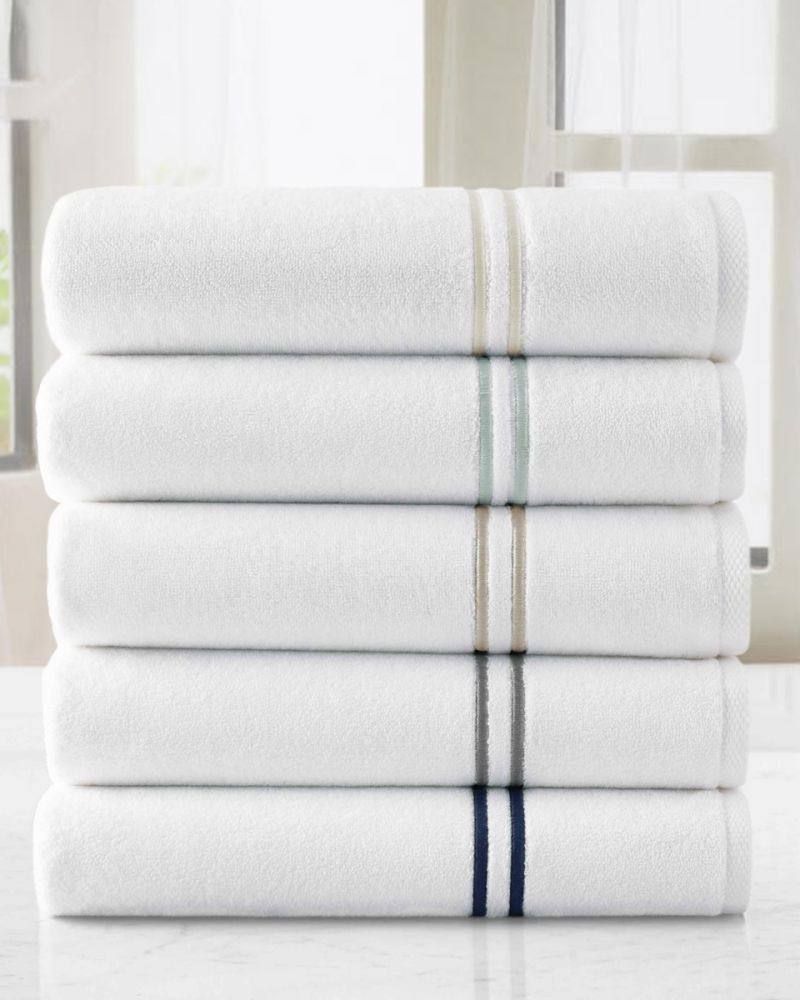 Carrara Double Line Embroidered Turkish Cotton Towel