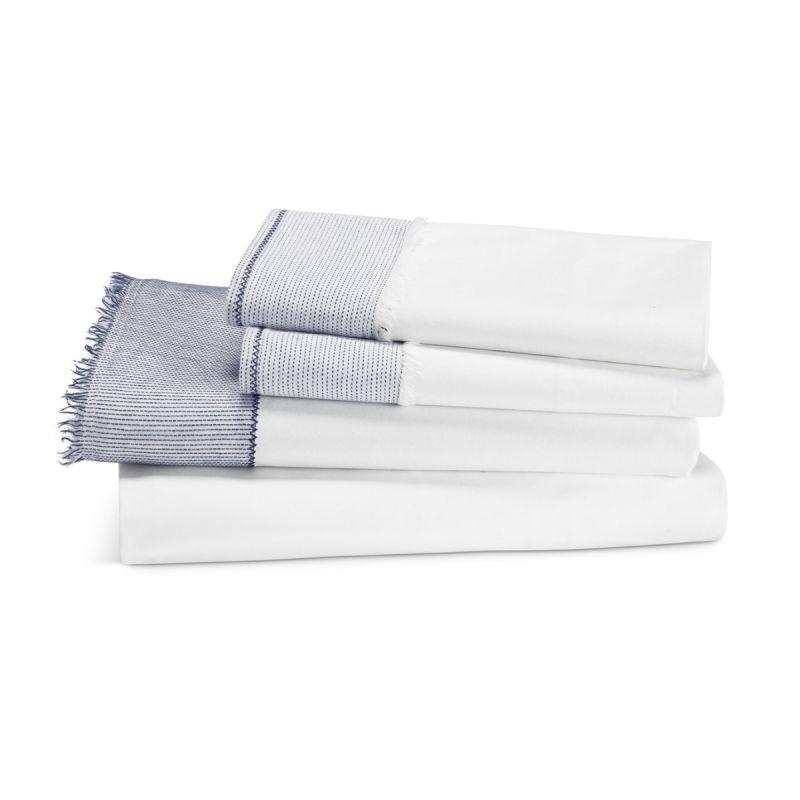 Cartagena Linen Stitch Sheet Set-Indigo-Queen