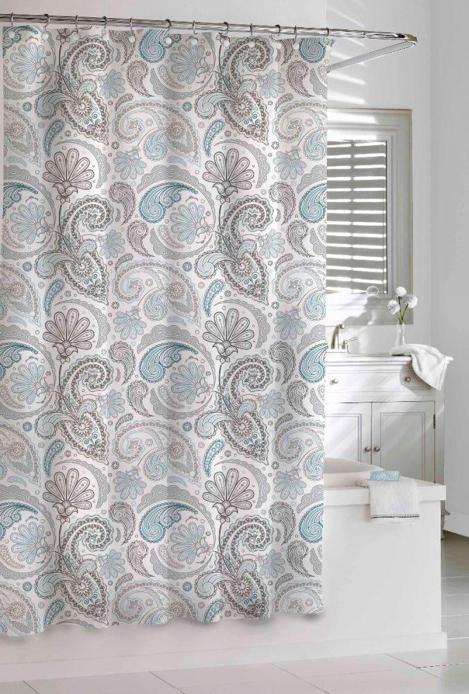 "Paisley Shower Curtain-Blue / Grey-72""x72"""
